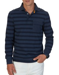 Nautica Big And Tall Long Sleeve Striped Polo Mood Indigo