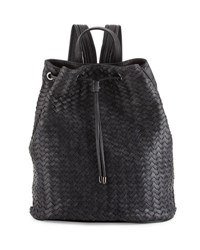 Neiman Marcus Basketweave Drawstring Bucket Backpack Dark Charc