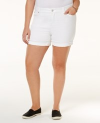 Celebrity Pink Trendy Plus Size Denim Shorts Optic White