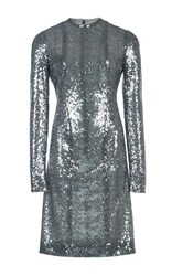 Galvan Iridescent Sequin Embellished Dress Metallic