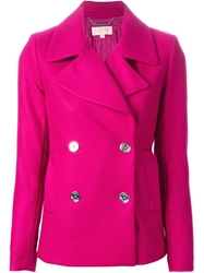 Michael Michael Kors Double Breasted Peacoat Pink And Purple