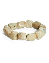 Lord And Taylor Semi Precious Stone Sterling Silver Stretch Bracelet Brown