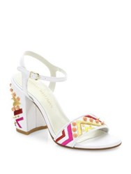 Stuart Weitzman Both Studded Embroidered Leather Block Heel Sandals White