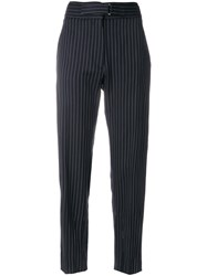 Stella Mccartney Pinstriped Tailored Trousers Wool Polyester Metal Blue