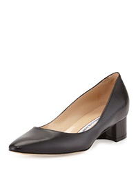 Manolo Blahnik Listony Leather Low Heel Pump