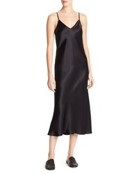 Vince Bias Cut Satin V Neck Midi Length Slip Dress Black
