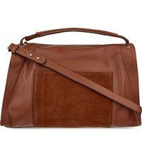 Sandro Zipped Medium Leather Tote Bag Camel