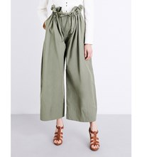 Stella Mccartney Benni Drawstring Waist Cotton Poplin Trousers Light Khaki