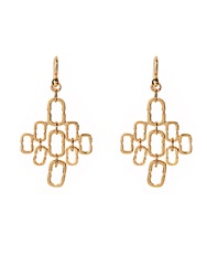 Diane Von Furstenberg Chain Link Cluster Gold Plated Earrings
