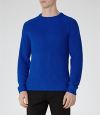 Reiss Cookly Mens Ribbed Crew Neck Jumper In Blue