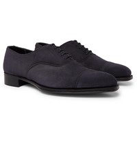 Kingsman George Cleverley Whole Cut Suede Oxford Shoes Blue