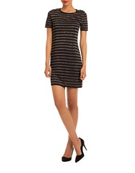 Trina By Trina Turk Metallic Striped Short Sleeved Sweater Dress Black Multi
