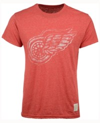 Retro Brand Men's Detroit Red Wings Stripe Mock Twist T Shirt
