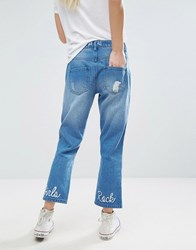 Daisy Street Cropped Distressed Jeans With Girls Rock Embroidery Blue