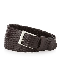 Neiman Marcus Braided Leather Belt Brown