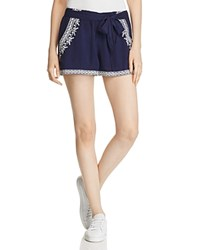 Band Of Gypsies Embroidered Shorts Navy White