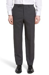 Berle Men's Flat Front Solid Wool Trousers Grey