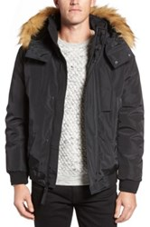 Andrew Marc New York Knox Faux Fur Trimmed Bomber Jacket Black