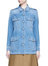 Closed 'Blade' Denim Military Long Jacket Blue