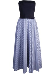 Adeam Bandeau With Gingham Dress Blue