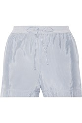 Alexander Wang Striped Crepe De Chine Shorts Light Blue