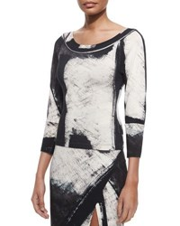 Donna Karan Printed 3 4 Sleeve Top Ivory Multi