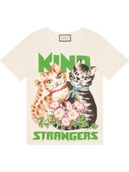 Gucci Oversize Cotton T Shirt With Kittens White