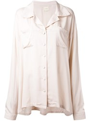 Ikumi Silky Boyfriend Blouse Brown