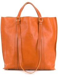 Il Bisonte Logo Embossed Tote Nude And Neutrals