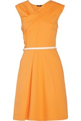 Raoul Drew Draped Cotton Blend Dress Orange