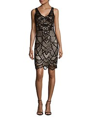 Js Collection Art Deco Beaded Dress Black Nude