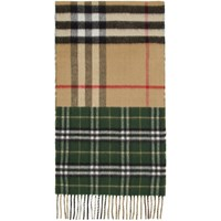 Burberry Green And Beige Vintage Check To Giant Check Scarf