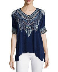 Johnny Was Xander Short Sleeve Embroidered Poncho Top Blue Night