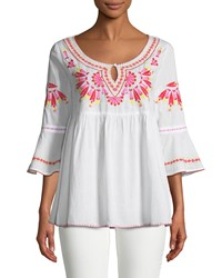 Romeo And Juliet Couture 3 4 Sleeve Embroidered Tunic White