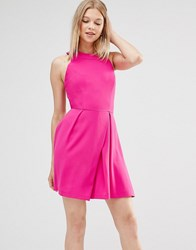 Adelyn Rae Cage Back Skater Dress Magenta Pink