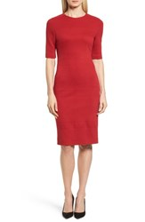 Boss 'S Hibela Tonal Stripe Dress Crimson Red