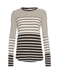 Vince Long Sleeved Striped T Shirt Black White