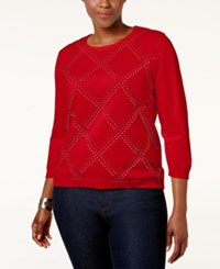 Alfred Dunner Plus Size Embellished Sweater Red