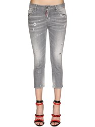 Dsquared Cool Girl Cropped Cotton Denim Jeans Grey