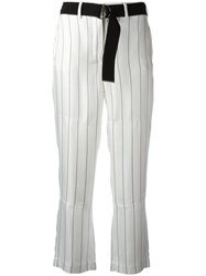 Giorgio Armani Striped Cropped Trousers Black