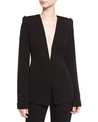 Brandon Maxwell Piped Shoulder V Neck Jacket Black