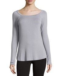 Babakul Open Back Long Sleeve Raglan Tee Silver