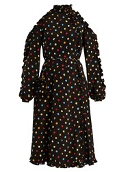 Anna October Cut Out Shoulder Polka Dot Crepe Dress Black Multi