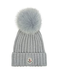Moncler Fur Pompom Ribbed Knit Hat Light Grey