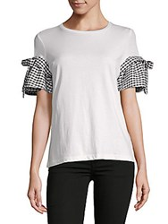 Saks Fifth Avenue Gingham Bow Sleeve Tee White Multi