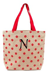 Cathy's Concepts Personalized Polka Dot Jute Tote Red Red N