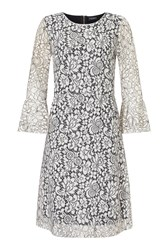James Lakeland Lace Bell Sleeve Dress Black White Black White