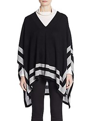 Cullen Striped Cashmere Poncho Black