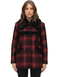 Coach Plaid Acetate Blend Coat W Shearling Black