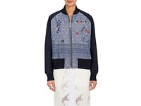 Sacai Women's Floral And Geometric Pattern Embroidered Cotton Bomber Jacket Blue